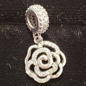 925 Silver Stoned Dangling Flower Charm